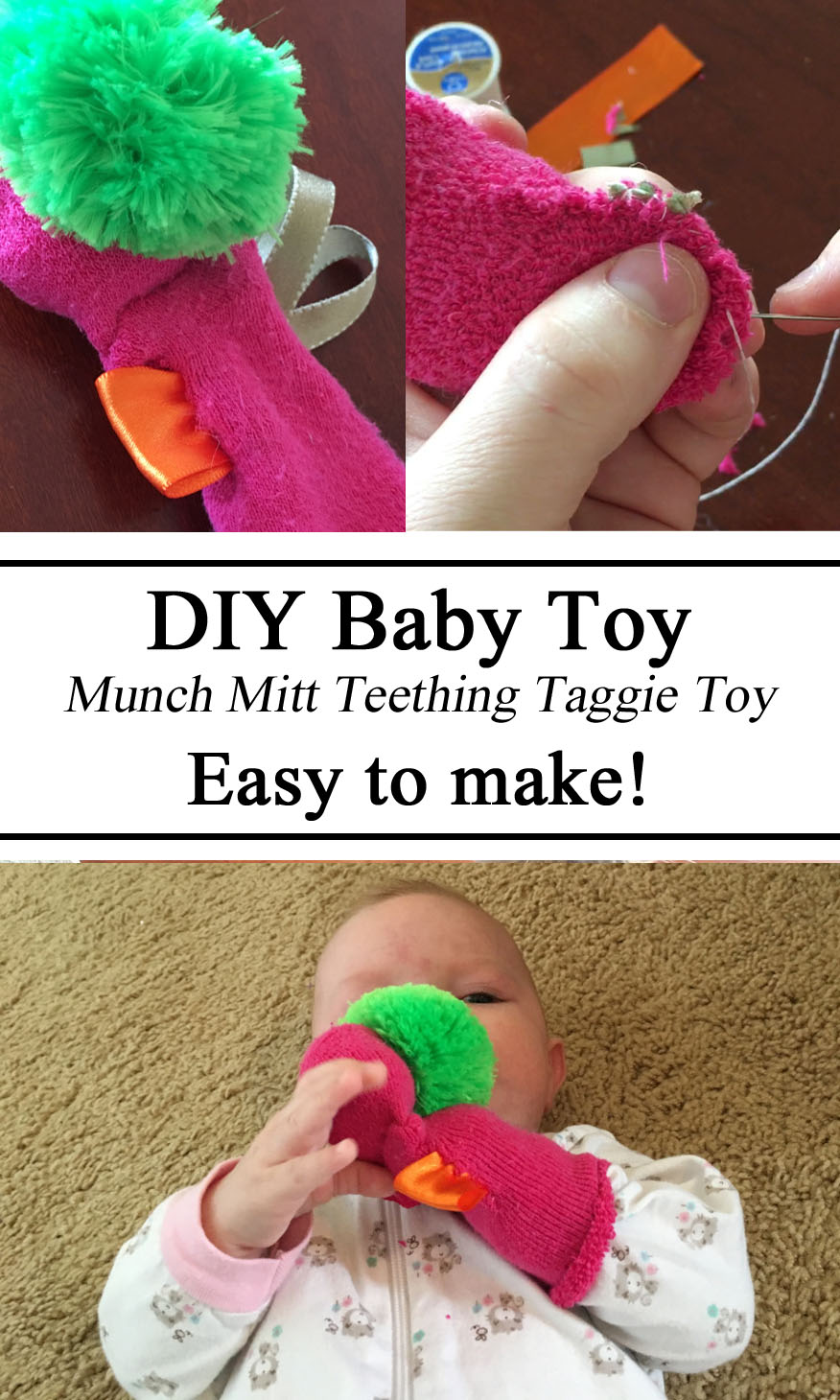 DIY baby Toy, Munch Mitt Teething Taggie Toy, Sock, Sewing, How to, Creative Mom, Infant, Teething Ideas Relief, Toys, Sensory, Stimulation Baby Babies