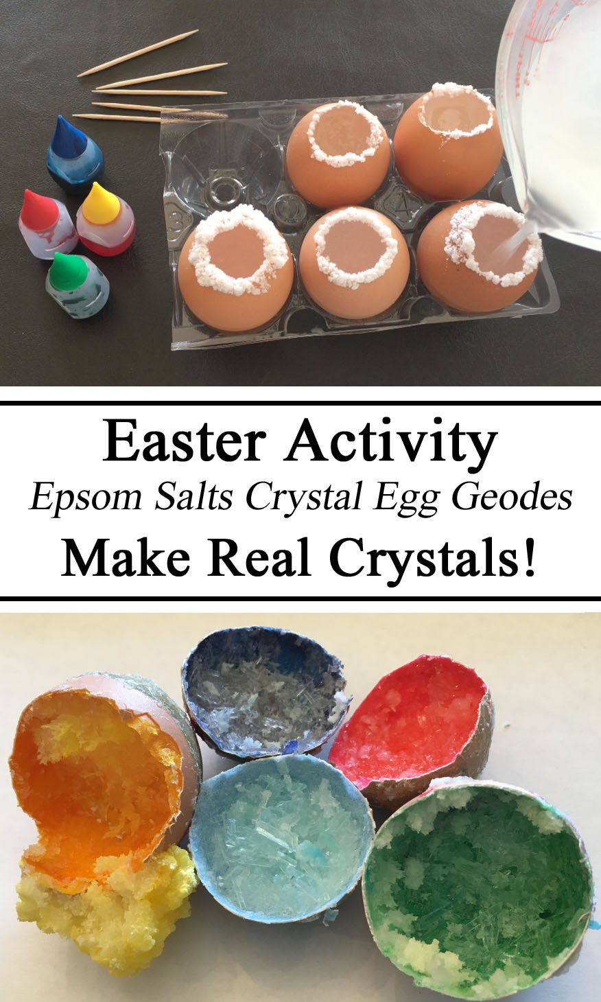Science for Kids, Crystals, Egg Crystal, Epsom Salts Crystals, STEM Challenge, Toddler, Preschool, Kindergarten, Homeschool, Homeschooling, Totschool, Early Childhood Education, Grow Crystals, DIY, Resources Parents