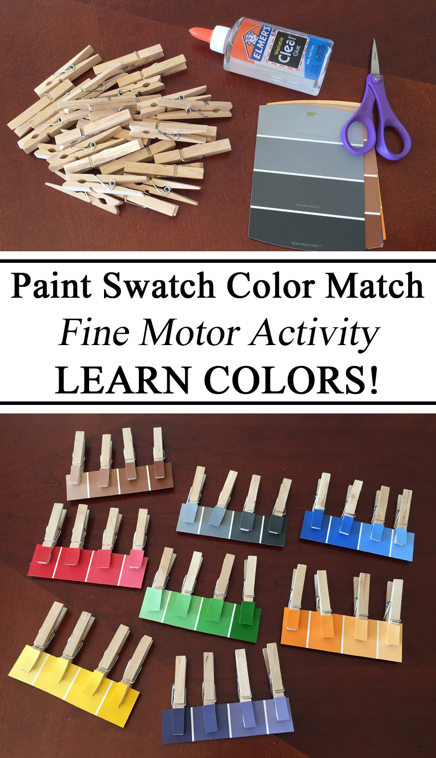 Paint Swatch, Color Matching, Clothespins, Pinning Work, Learning Colors, Pantone, Shades, Toddlers, Fine Motor Skills, Preschool, DIY, Upcycle, Crafts for Kids, Montessori, Waldorf, Homeschool, Homeschooling, Resources for Parents Moms
