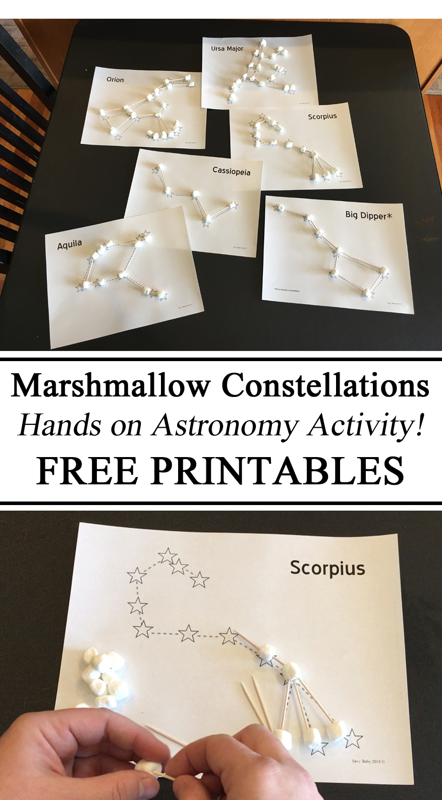 Free Printables, Printables, Free Download, Marshmallow Activities, Astronomy, Constellations, Hands on Activity, Preschool, Kindergarten, Elementary School, Learn about the Stars, Solar System Unit, Space Study, Homeschool, Homeschooling, Montessori, Waldorf, Educational