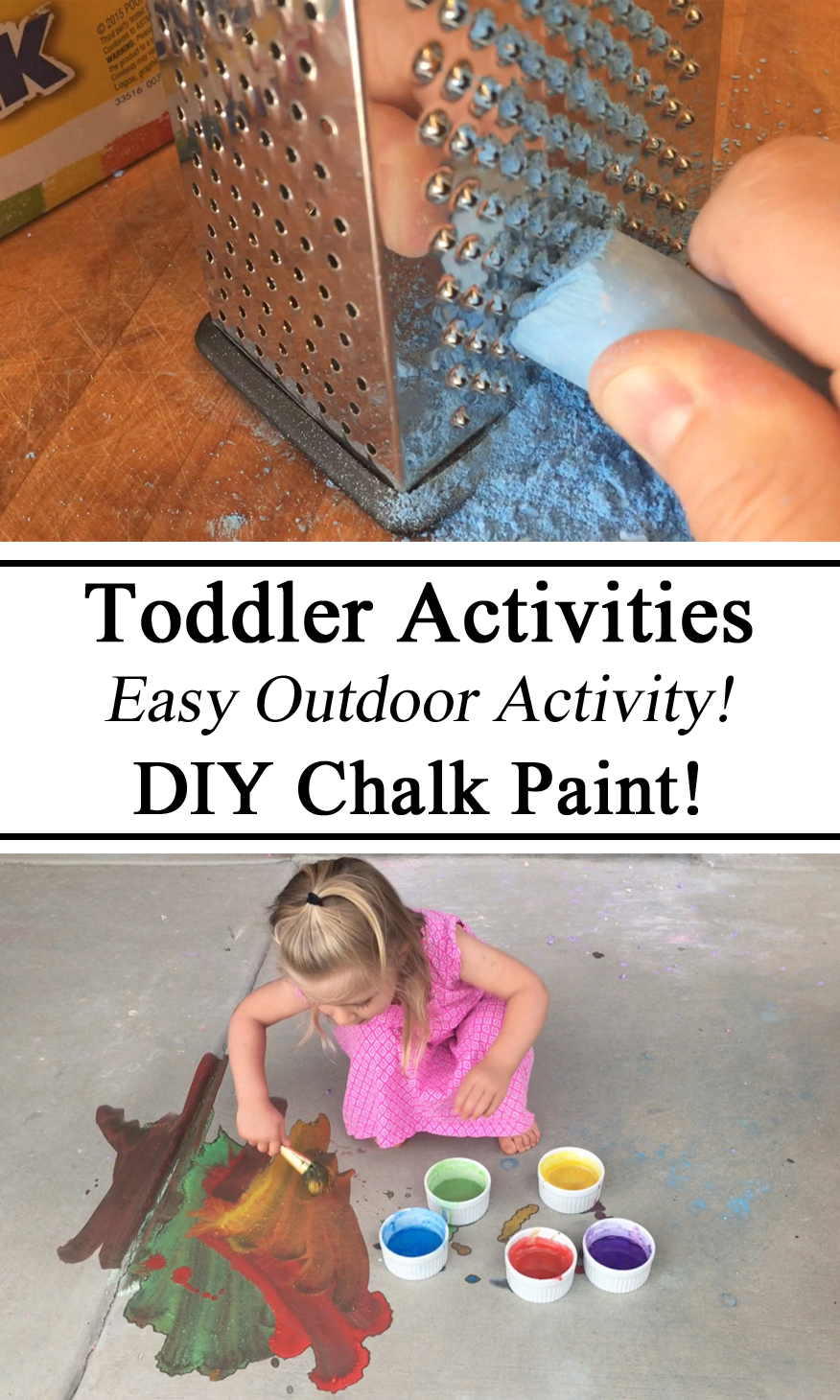 Make your own Chalk Paint, Upcycle Chalk Sticks, Outdoor Activity, Messy Play, Art for Kids, Summer Activity, Painting, Arts & Crafts, Toddler, Preschool, Kindergarten, Ideas, Recipe, How to, DIY, Homeschool, Homeschooling, Montessori