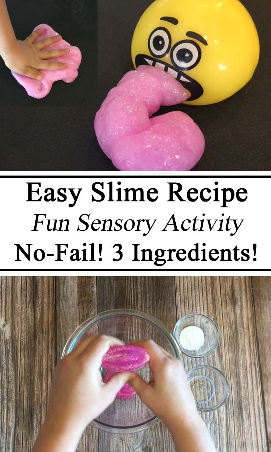 Slime, Science for Kids, Easy Recipe, STEM Education, Sensory Activity, Sensory Play, Toddlers, Kids, Preschool, Kindergarten, Homeschool, Homeschooling, Messy Play, Hands on Learning, Educational Play, Montessori, Waldorf