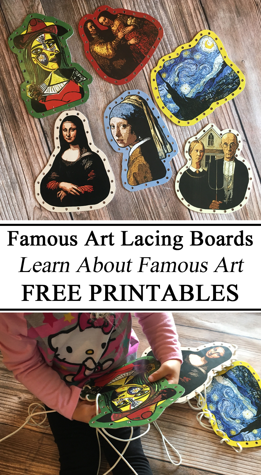 Art Study, History, Famous Paintings, Lacing Boards, DIY, Cardboard, Free Printables, Printables, Art History Unit, Fine Motor Activity, Hands On Learning, DIY, Teacher Resources, Educational
