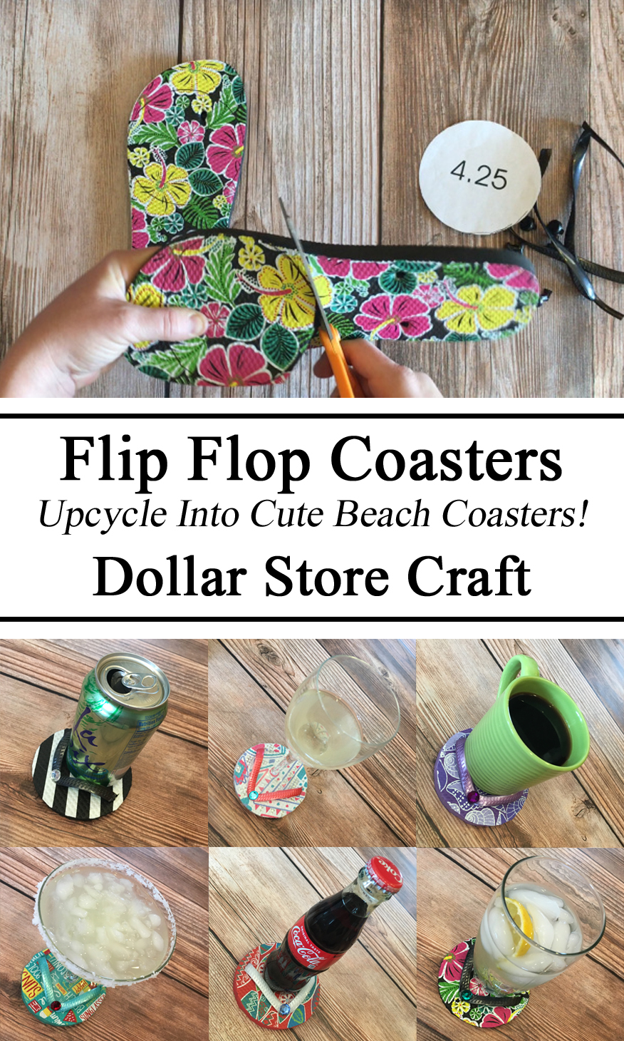 Dollar Store Hacks Finds Beach Themed Coasters, Crafts, Upcycle, Gifts, DIY, Summer Activity