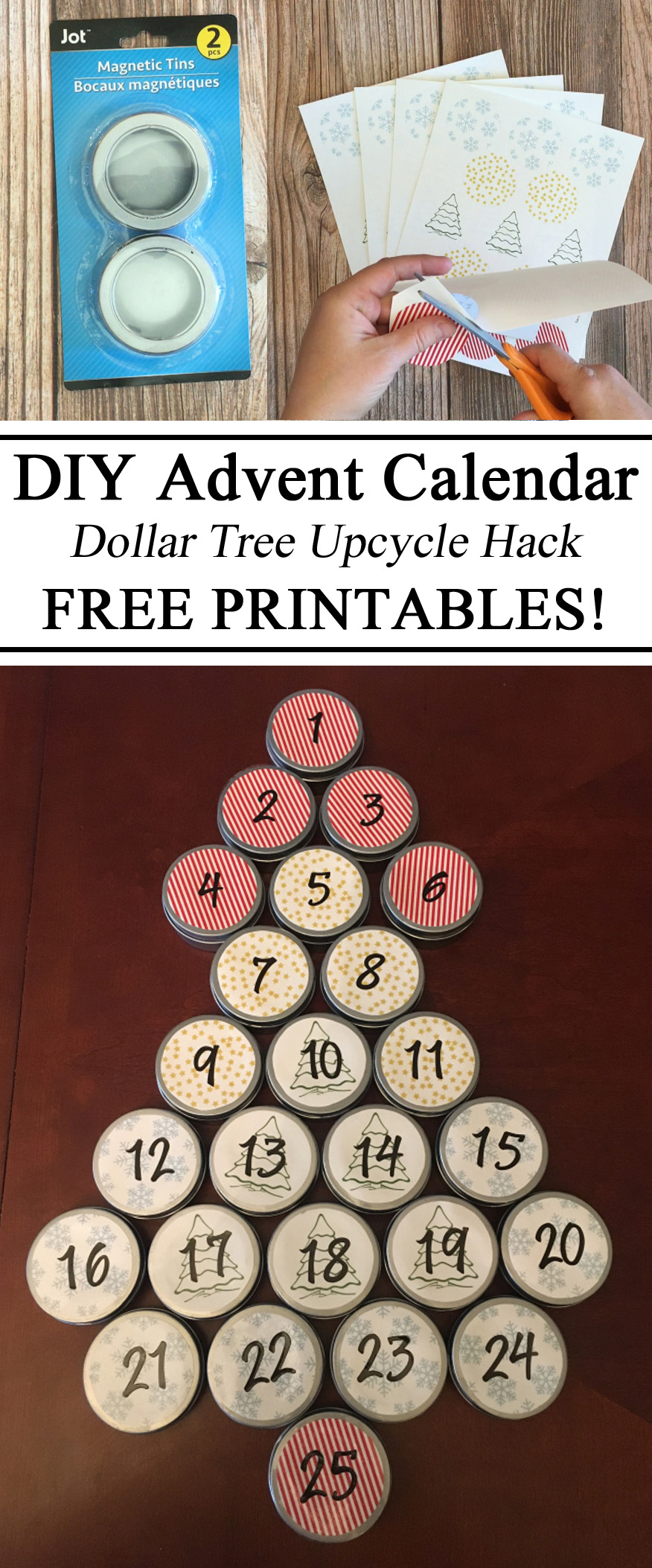 Advent Calendar, Dollar Tree Hack, Upcycle, DIY, Reusable, Sustainable, Free Printables, Free Downloads, Magnetic, Christmas Activity, Montessori, Parent Resources, Waldorf, Counting, Learning, 1-25, Holiday Activities, Preschool, Traditions, Kindergarten, Totschool, Homeschooling, Homeschool