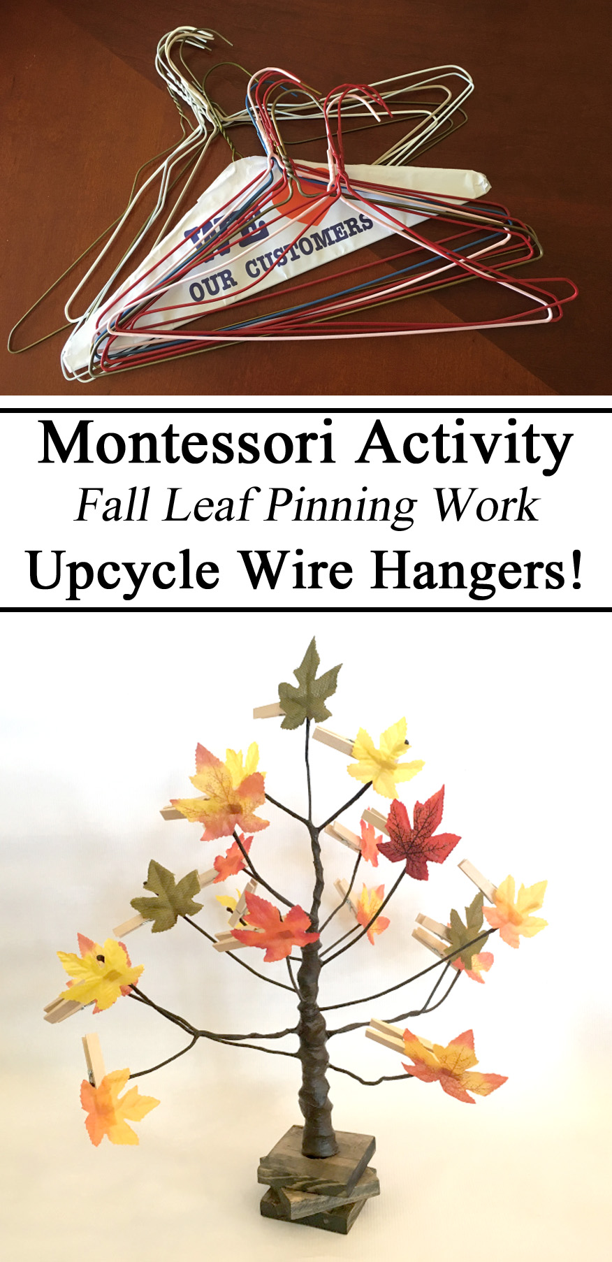 Wire Hangers, Leaf Pinning, Montessori, Inspired, Inspiration, Fine Motor Skills, Hand Strengthening, Preschool, Kindergarten, Toddler, Wire Tree, Fall Autumn Unit, Holiday, DIY, Homeschool, Homeschooling