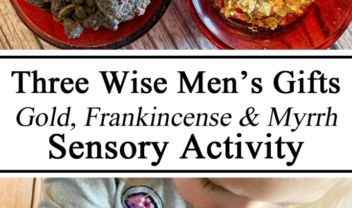 Gold, Frankincense, Myrrh, Three Wise Men, Sensory Activity, Sensory Bin, Montessori, Israel Unit, Christmas Activity, Holiday Activity, Preschool, Kindergarten, Homeschooling, Homeschooling ideas, Activities for Kids, Hands on Learning
