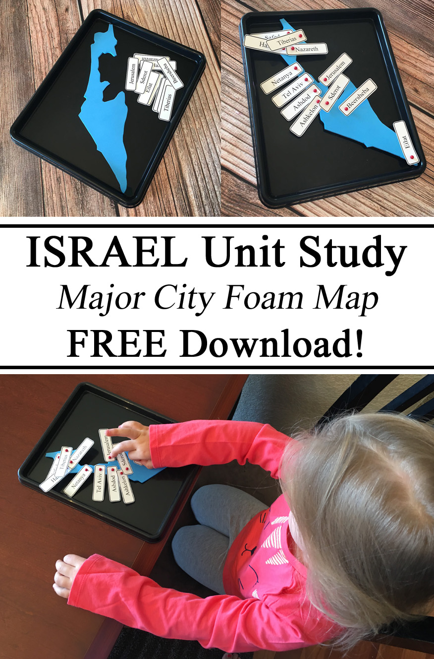 Israel Unit Study, Homeschool, Homeschooling, Ideas, Montessori, Foam Map, Geography, Hands on Learning, Map Pins, Activities for Kids