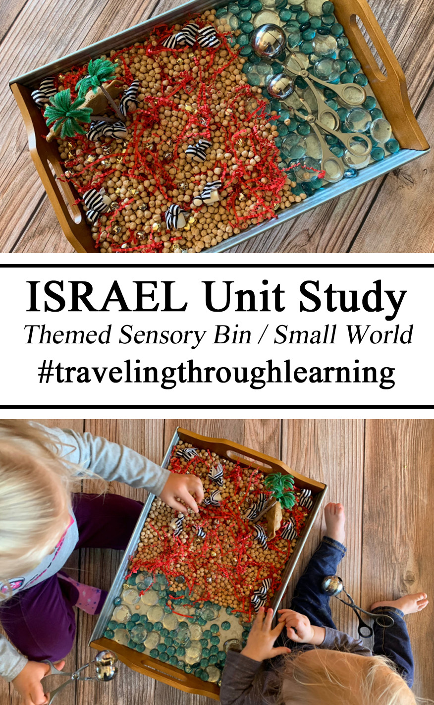 Sensory Play, Sensory Bin, Small World, Invitation to Play, #invitationtoplay, #travelingthroughlearning, geography, israel unit Study, Homeschool, Homeschooling Ideas, Themed Activities, Miniatures, Activities for Kids, Hands on Learning