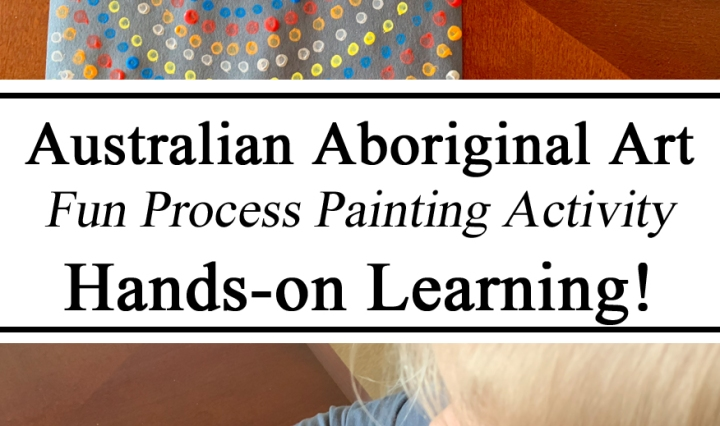 Australia Australian Aboriginal Art Process Painting Hands on Learning Preschool Ideas Kindergarten Educational Q-tip dot painting Construction Paper Ideas Inspiration Homeschool Montessori Waldorf STEM STEAM Education
