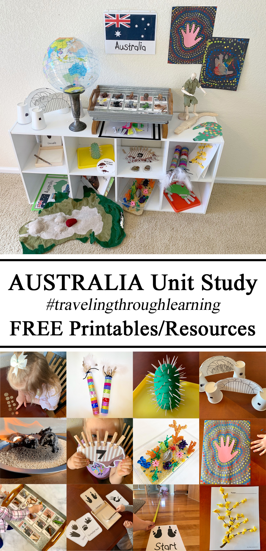 Homeschool, Homeschooling, Australia Day Unit Study, Waldorf, Preschool, Montessori Shelves Shelf Hands on Learning Culture through Play Travelingthroughlearning, Country Themed Activities, Educational Kindergarten, Pre-K, Fauna, Flora, Resources, Printables, FREE Download, Geography