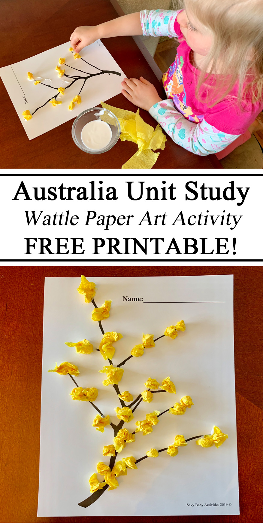 Australia Unit Study Down Under Outback Wattle National Flower Paper Craft Art Tissue Paper Preschool Kindergarten Learning Activity Montessori Waldorf Homeschool Homeschooling Ideas Teachers Moms Inspiration #travelingthroughlearning