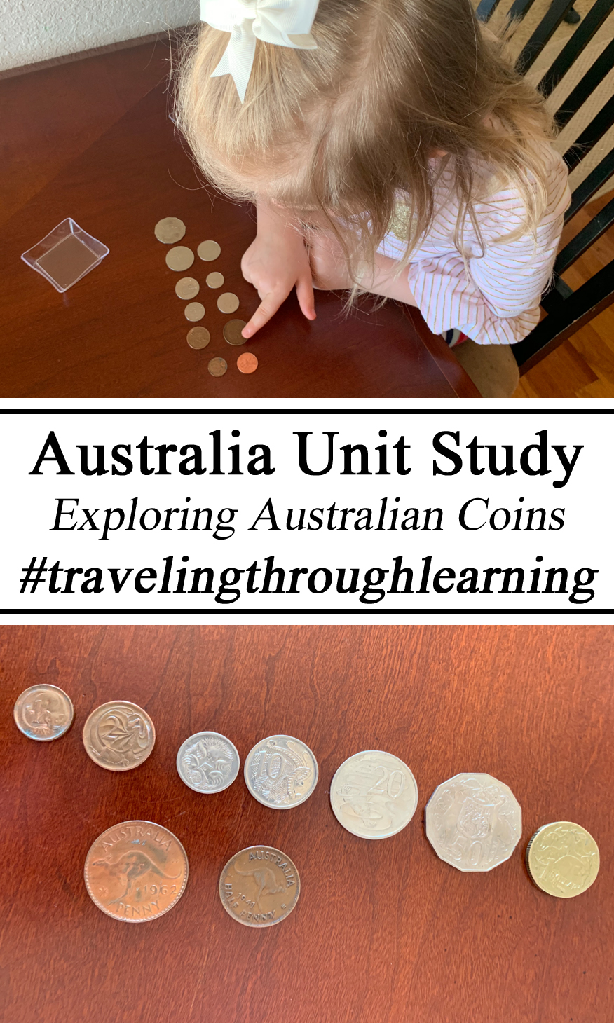 Homeschool, Homeschooling, Australia Unit, Australian Coins, Money, Currency, Geography, #travelingthroughlearning, Culture, Educational, Montessori, Inspired, Preschool, Monetary, Learning to Count, Hands on Activities, Play Based Learning,