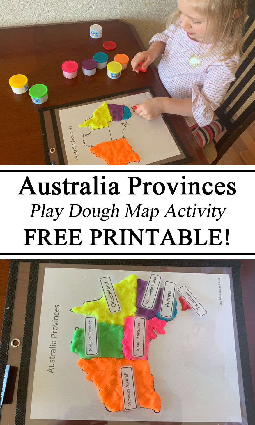 Homeschooling, Homeschool, Australia Unit, Geography, Playdough Play Dough Doh Map Printable Mat Download Free Resources Teachers, Preschool Kindergarten, Printables, #travelingthroughlearning