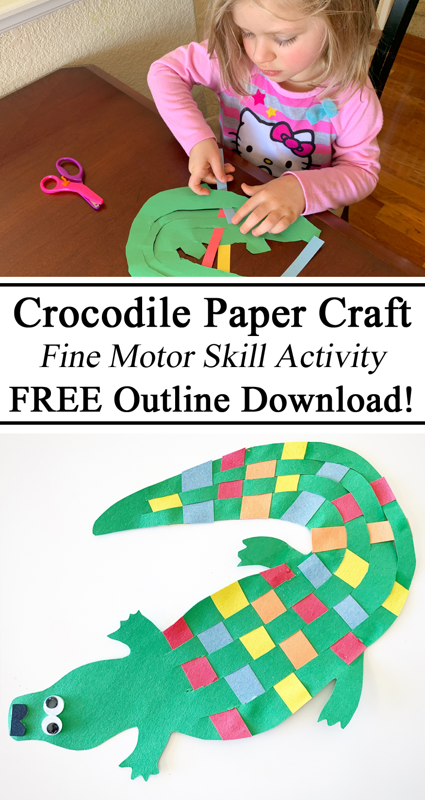 Crocodile, paper craft, free download, printables, printable, outline, paper craft, construction, fine motor skills, hand strengthening, outback, Australia unit, geography, weaving, googly eyes, homeschool, homeschooling, diy, arts and crafts, preschool, kindergarten, inspiration, ideas