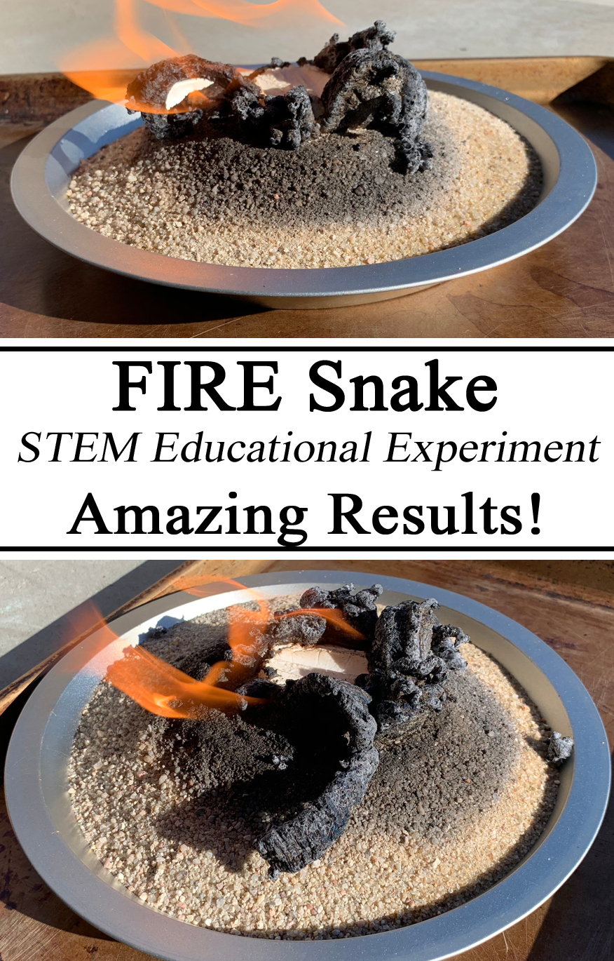 Fire Snake, STEM Challenge, STEAM Education, Educational Activity, Activities, Science Experiment Baking Soda Sugar Chemical Reaction Preschool, Kindergarten, Elementary, Amazing Results, Snakes, Nature, Outdoor, Hands on Learning, Homeschool, Homeschooling