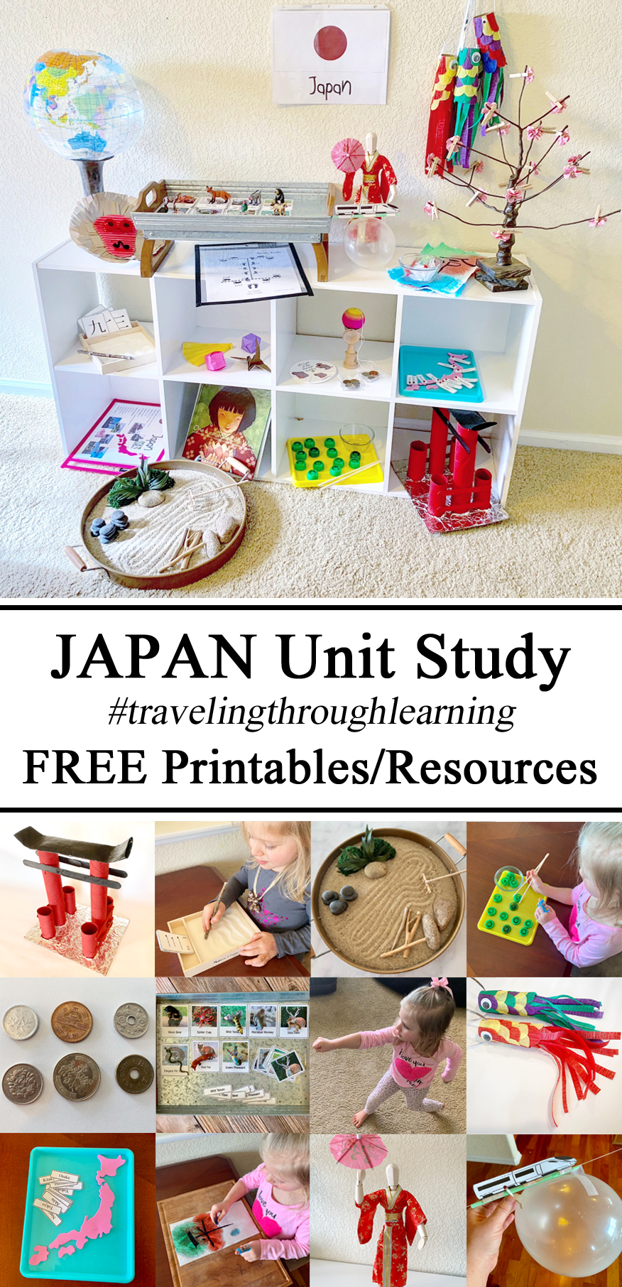 Japan Unit, Learning about Japanese Culture Kids Montessori Inspired Waldorf Homeschooling, Education, Learning Free Printables Printable Download Resources Preschool Learn Counting, Hands on Fine Motor Skills, Play Based STEM STEAM Education Shelf Classroom Ideas