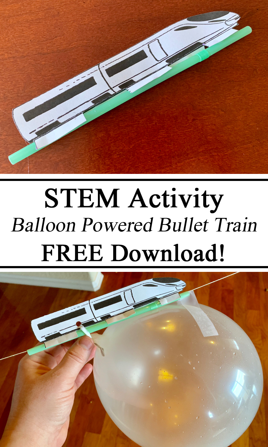 STEM, STEAM, Education, Learning, Science Experiment, Science for Kids, Bullet Train, Balloon Powered, Straw, Energy, Kinetic, Stored, Craft, Free Printables, Printable, Download, Learning About Power, Homeschool, Homeschooling, Montessori, Inspired, Ideas, Preschool, Teachers, Kindergarten, Early Childhood Education