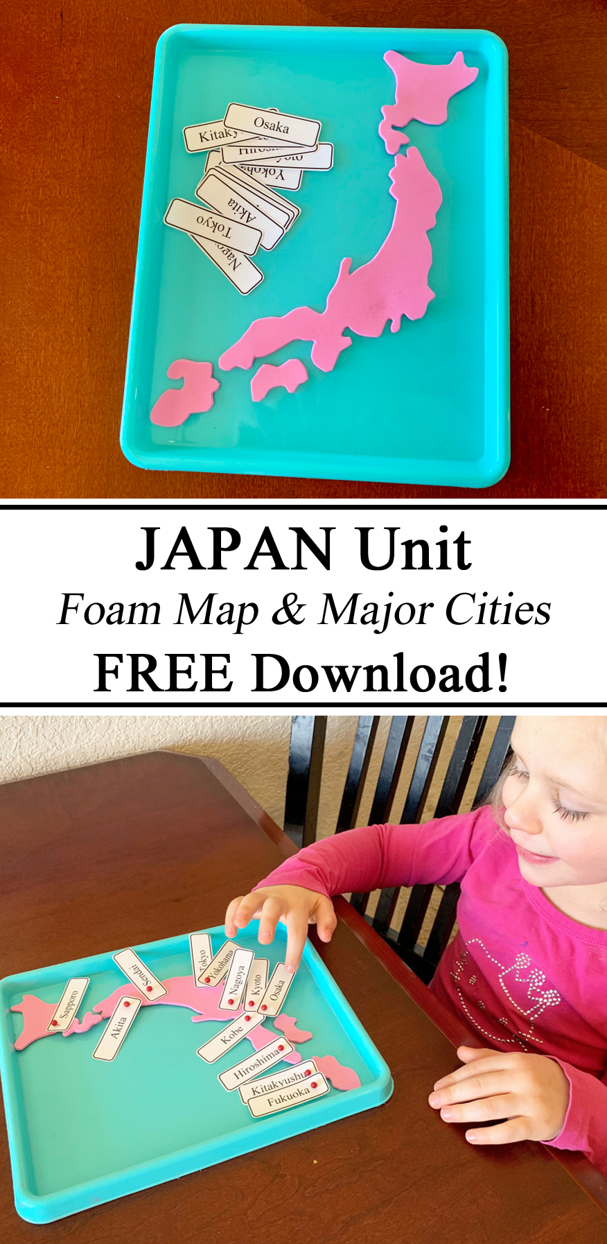 Map, Geography, Homeschooling, Homeschool, Foam, Hands on Learning, Printables, Free, Download, Educational, Learning Countries, Travelingthroughlearning, Montessori, Inspired, Ideas, Preschool, Kindergarten, PreK, Waldorf, Visual Learning, Resources, Teachers, Parents, Japan Unit, Japanese, Little Passports