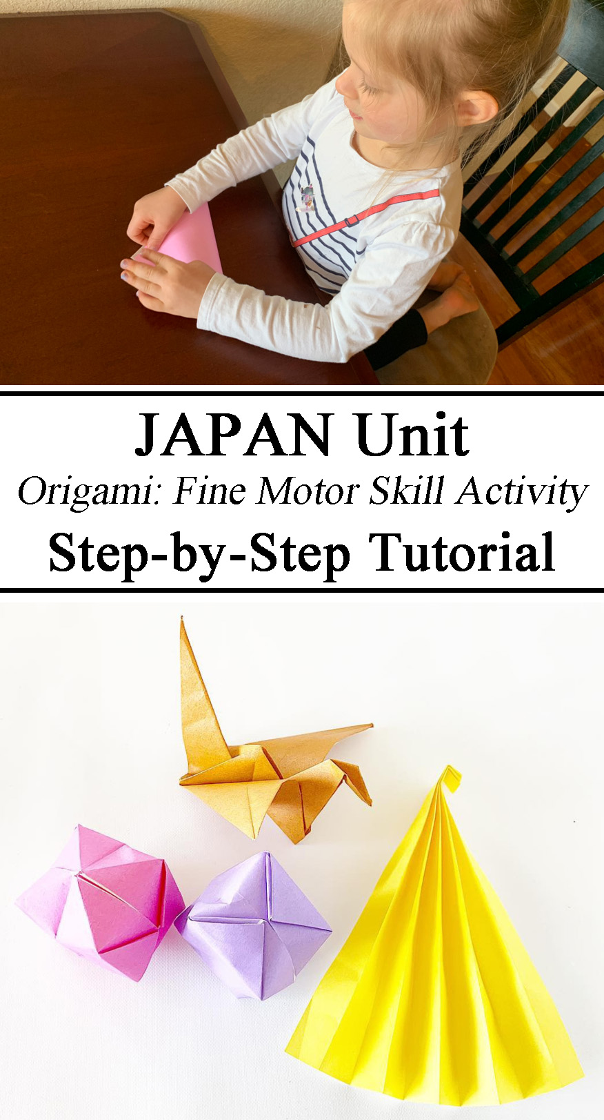 Japan Unit, Little Passports, Origami, Fine Motor Skills Activity, Preschool, Kindergarten, Montessori, Inspired, Homeschool, Waldorf, Tutorial, Crane, Box, Fan, Paper Craft, Hands on Learning, Educational, DIY, How-To, How to