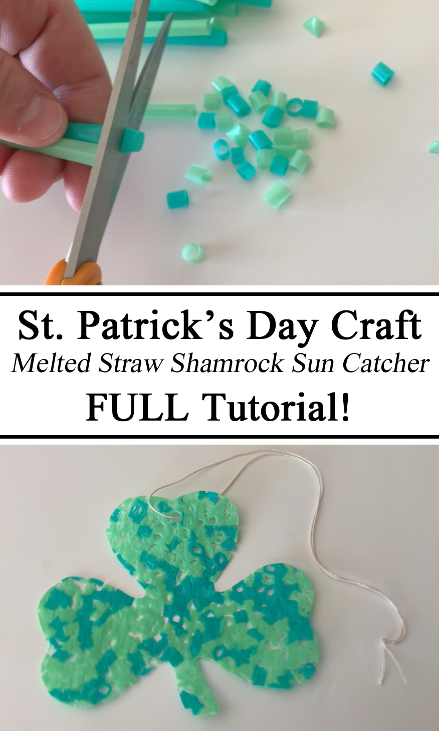 Homeschool, Homeschooling, Upcycle, Straws, Melted Plastic, DIY, Preschool, PreK, Kindergarten, Montessori, Arts and Crafts, Crafts for Kids, Science Experiments, St. Patrick's Day, Saint Paddy's Patty's Day, Crafts Activity for Kids, Sun Catcher, Green, Lucky Four Leaf Clover Shamrock, Early Childhood Education, STEAM, STEM Educational, Learning, Hands on Teaching, Resources, Inspiration, Ideas