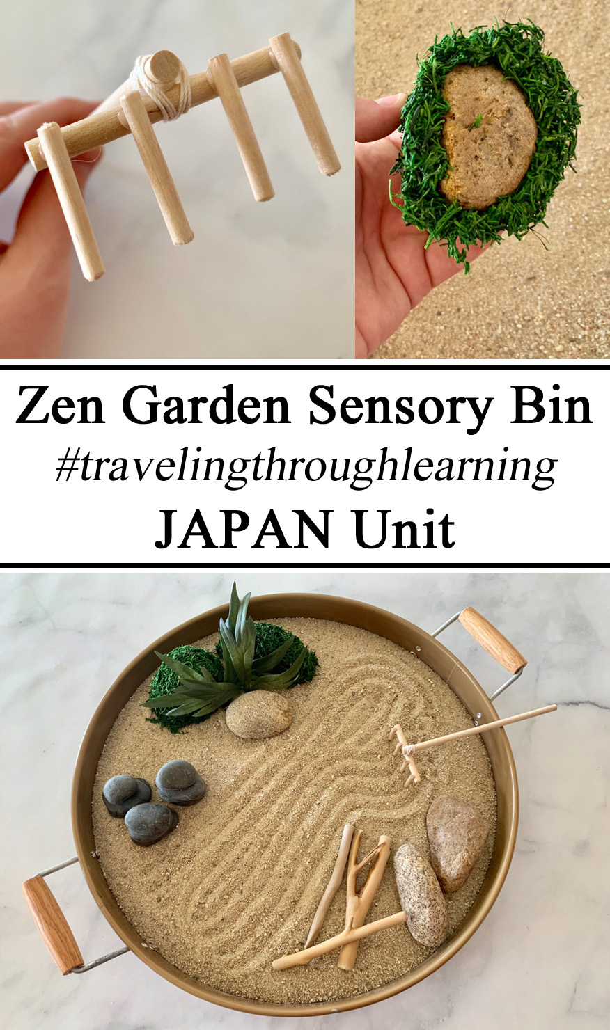 Japan Unit, Global Citizens, Little Passports, Zen Garden, Sensory Play Bin Tray, Sensory Processing Disorder, SPD, Autism, Autistic Activities, Activity, Hands on Learning, Educational, Medication, Buddhist, Homeschool, Homeschooling, Montessori, DIY, Handmade, Preschool, Kindergarden, Elementary, Ideas, Inspiration, Waldorf, Small World Play