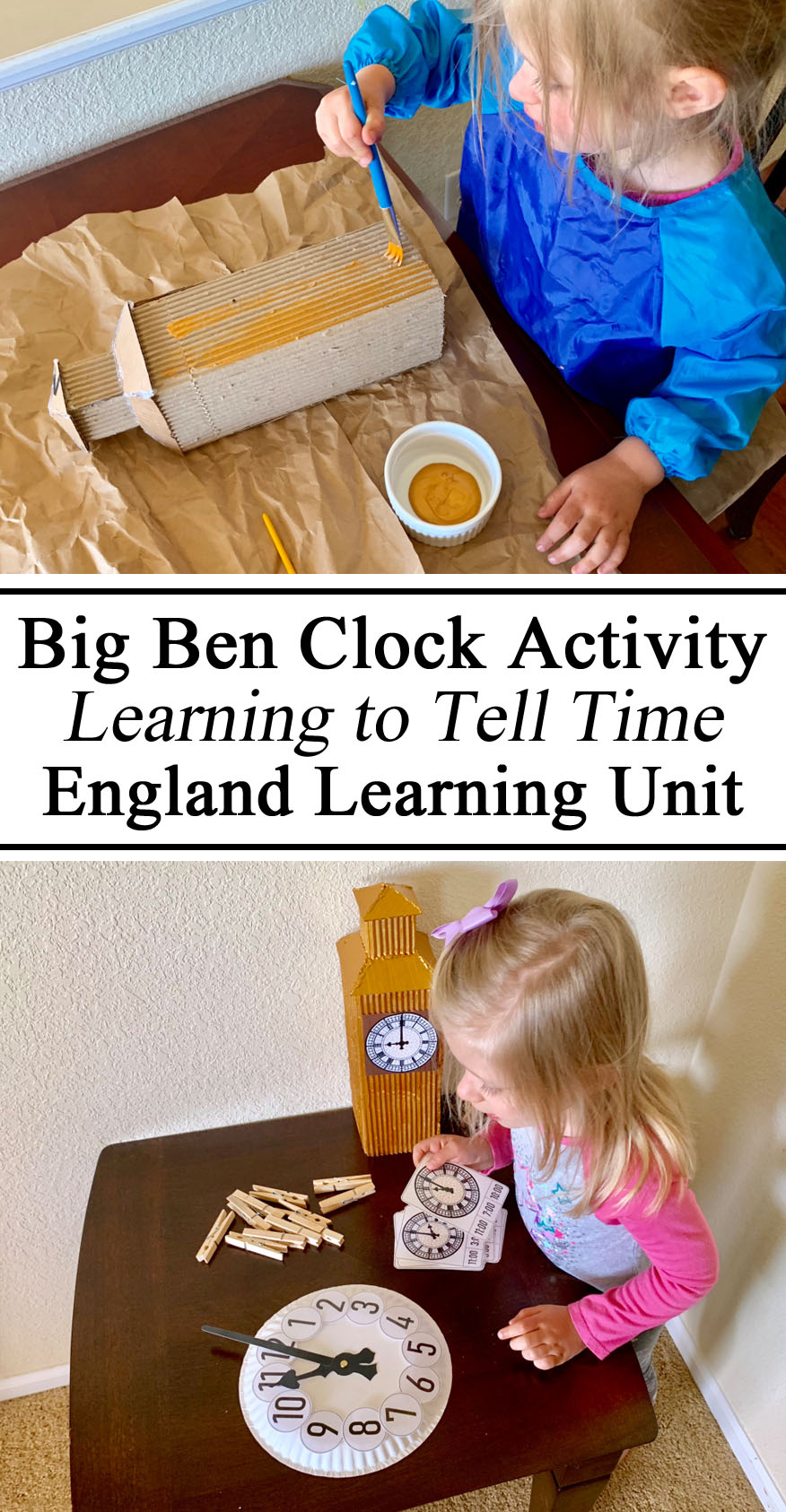 Montessori, Inspired, Waldorf, Activities, Printables, Free, Download, Resources, Preschool, Kindergarten, Activities, FREE Unit, Study, #travelingthroughlearning, England Unit, Great Britain, Culture Through Play, Clock, Telling Time, Teach Learn, Pinning Work, Fine Motor Skills, Hands on Learning, Models, Unschooling, Unschool, Teach them young,