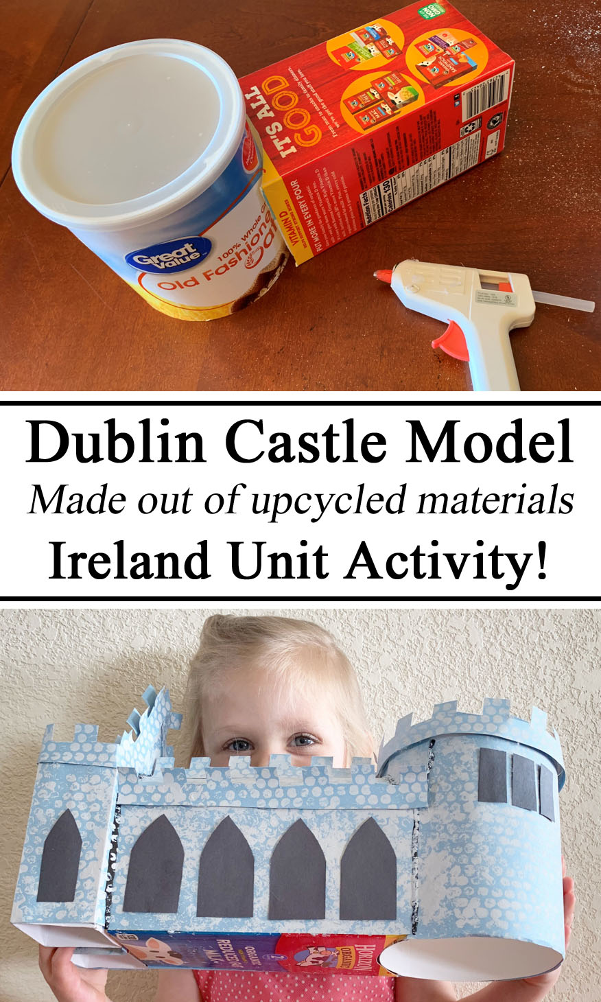 Homeschool, Model, Ireland Unit, Dublin Castle, Paper Crafts, Upcycle, Upcycling, Diorama, Miniature, Montessori, Waldorf, Arts and Crafts for Kids, #travelingthroughlearning, educational, STEAM Education, STEM Education, Hands on Learning, Inspiration, Preschool, Kindergarten, PreK, Ideas for Teachers, Early Years, Unschooling