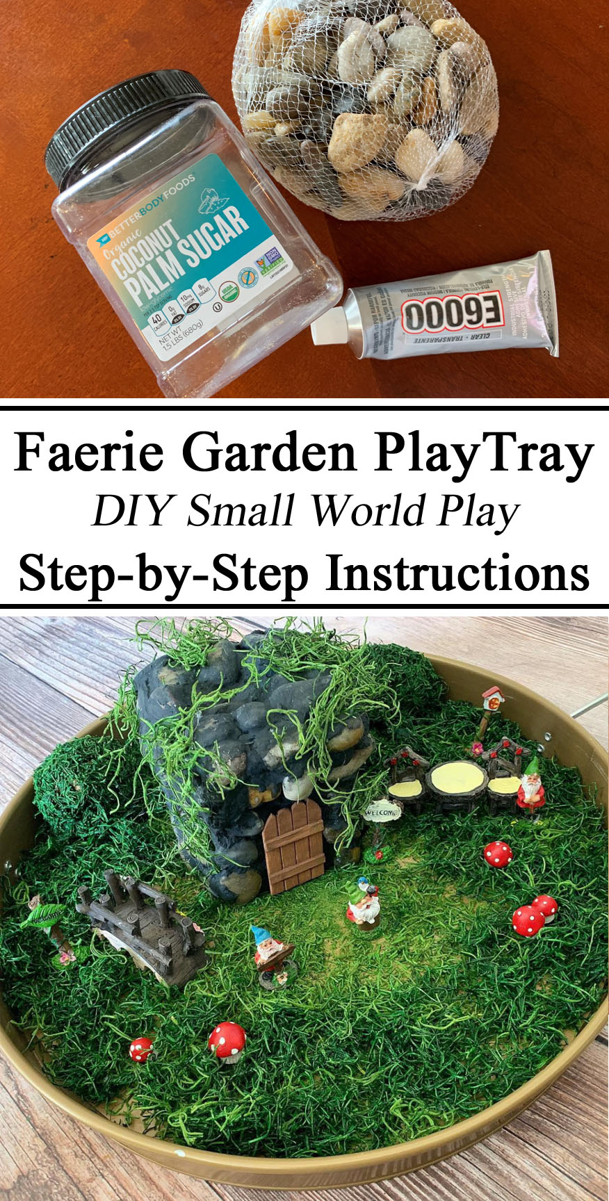 Fairy Garden Faerie Play Tray Small World, DIY, Instructions, Rock Garden Gnomes Leprachauns, Upcycle, Play Based Learning, Invitation to Play, Creative Mom, Spanish Moss, Unschooling, Activity Kids, Preschool, Kindergarten, Dollar Store Tree,