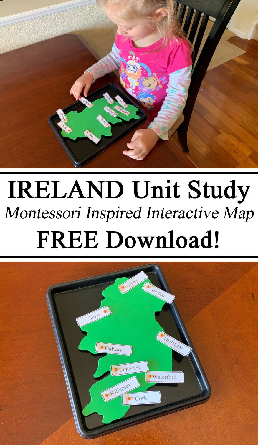 Montessori Geography Ireland Unit St. Patricks Saint Paddy's Paddys Patrick's Day Towns Cities Ireland Republik Northern Ireland Map Pins Preschooler, Kindergarten PreK, Inspiration, Homeschool, Homeschooling, Ideas, Hands on Learning, Teach them young, Travelingthroughlearning