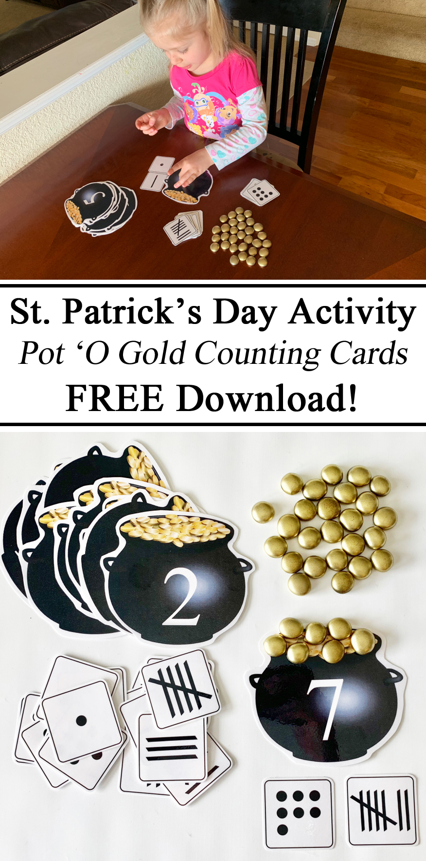 Homeschool, Homeschooling, St. Patrick's Day, Saint, Pot 'O Gold, Free Download, Educational Activities, Learning, Count, Cards, Matching, Preschool, PreK, Ireland Unit,