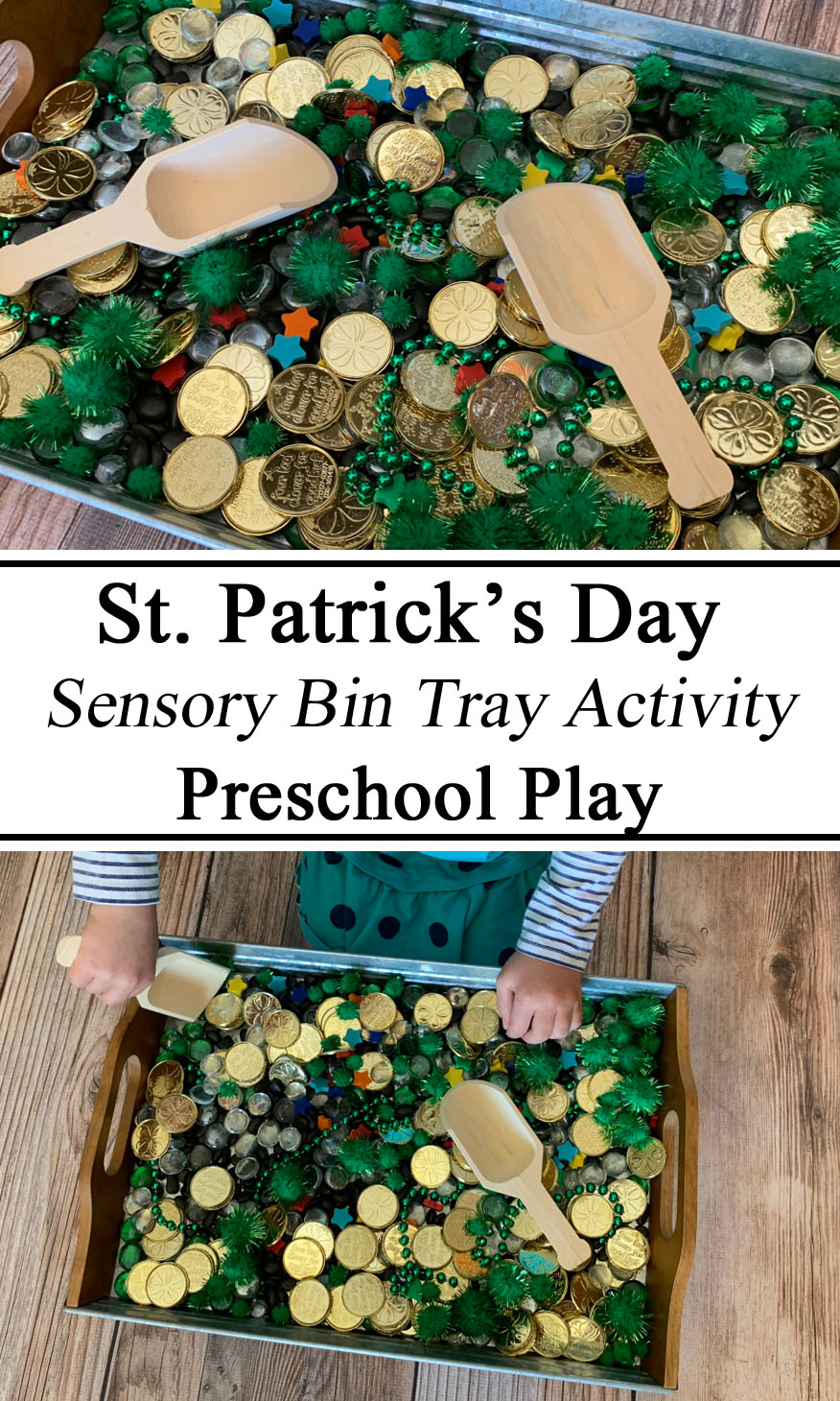 St Saint Patrick's Patrick Paddy's Paddys Day Themed Activity Sensory Play Bin Tray Loose Parts Activity Hands on Educational Inspiration Ideas Early Years Unschooling Unschool Ideas for Parents Montessori Waldorf STEM STEAM Learn