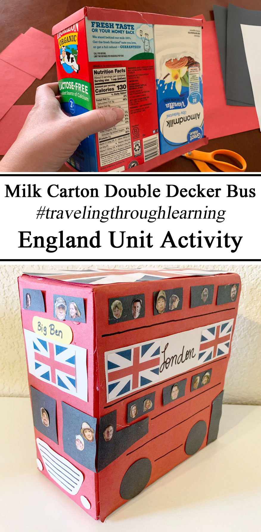England Great Britain, British, English, UK, Activity, Hands on Learning Play Based Learn, Milk Caton Double Decker London Bus #travelingthroughlearning, Educational Activities, Preschool, PreK, Kindergarten, Unschooling, Waldorf, Montessori, Free Printables, Inspiration, Ideas