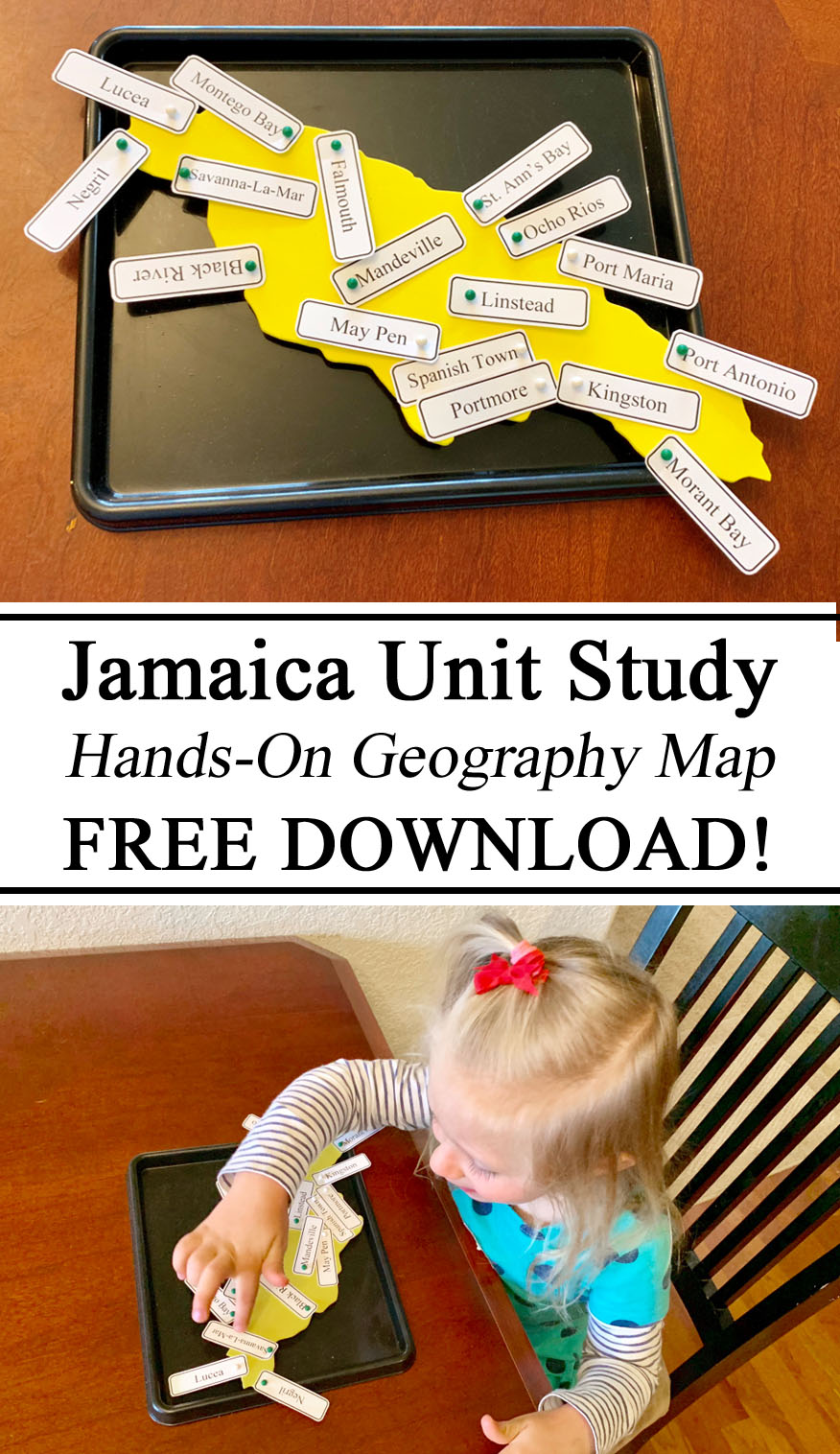 Geography, Homeschooling, Homeschool, Montessori, Inspired, Ideas, Hands on Learning, Free Resources, Printables, Download, Country Towns City Names, Map Pins, Interactive, Learning about Jamaicans, Waldorf, Unschooling, Early Childhood Education, Ideas, Teachers, Parents, Caregivers.