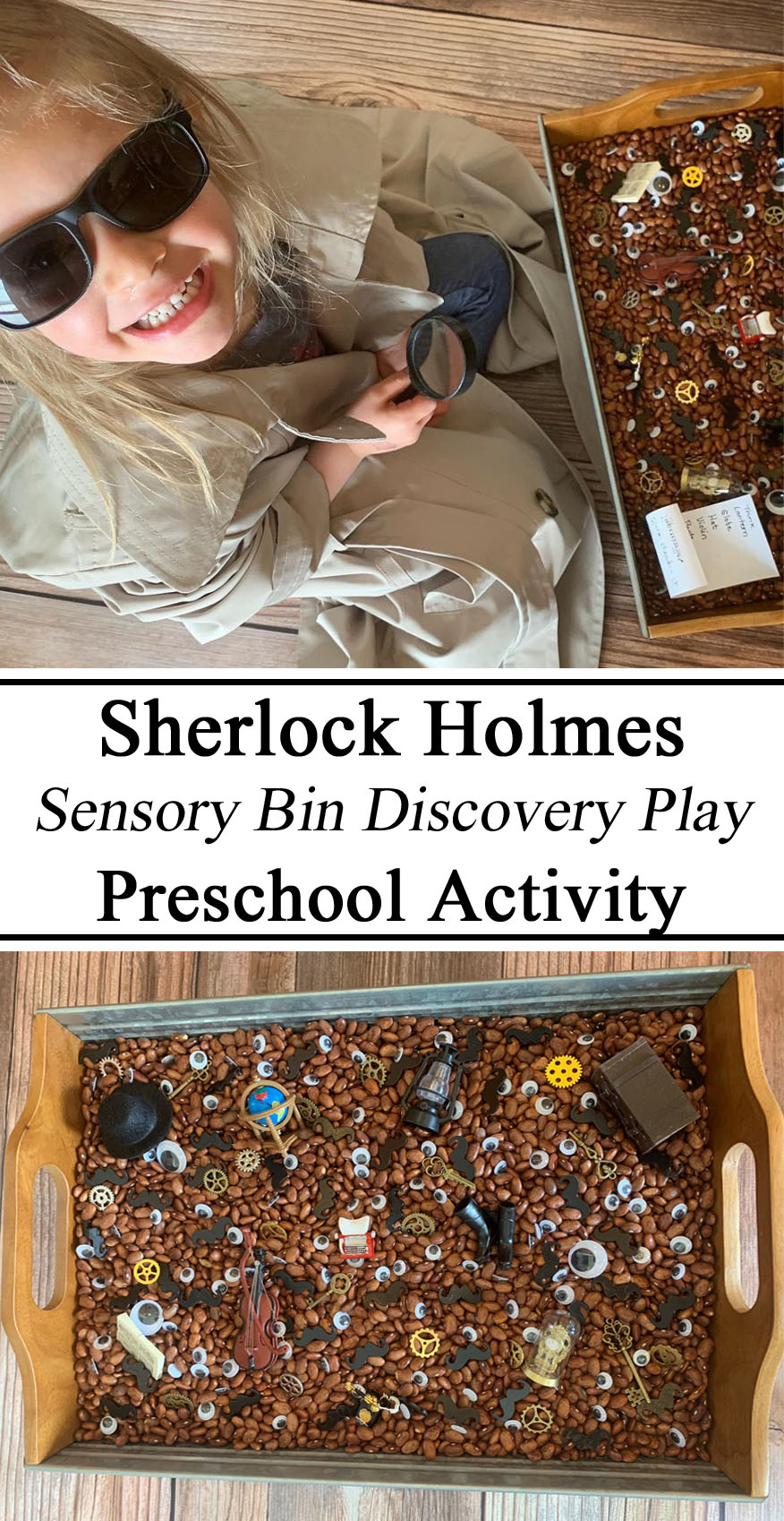 Homeschooling, Homeschool, Unschooling, Ideas, Inspiration, Preschool, PreK, Kindergarten, Hands on Learning, Sensory Play Bin Tray, Sherlock Homes Watson, Discovery Searching Clue Mystery Dollhouse miniatures, Victorian Era, Spy, Private Eye, Resources Teachers Parents, Early Childhood Education STEAM STEM Education Learning Learn Waldorf Montessori