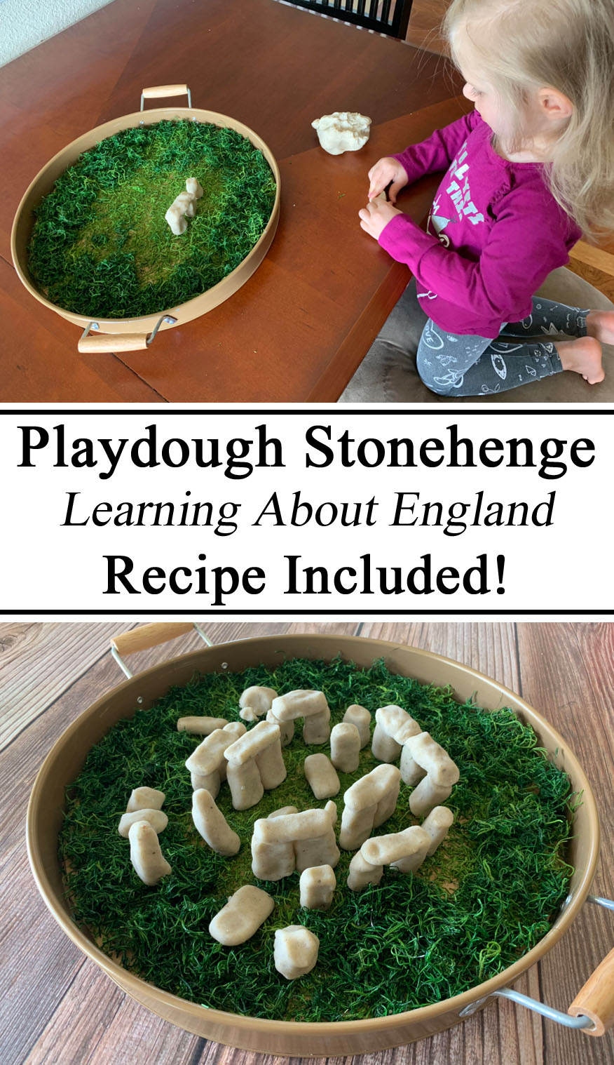 Stonehenge, England Unit, Great Britain, British, Royal, Play Doh Dough Playdough, Hands on Learning, Play Based Learning Through Play, Waldorf, Small World Play, Diorama, Sand Playdough, Recipe, Inspiration, Ideas, Preschool, PreK, Kindergarten, Homeschool, Homeschooling, Unschool, Unschooling, Early Childhood Education, teachers, Parents