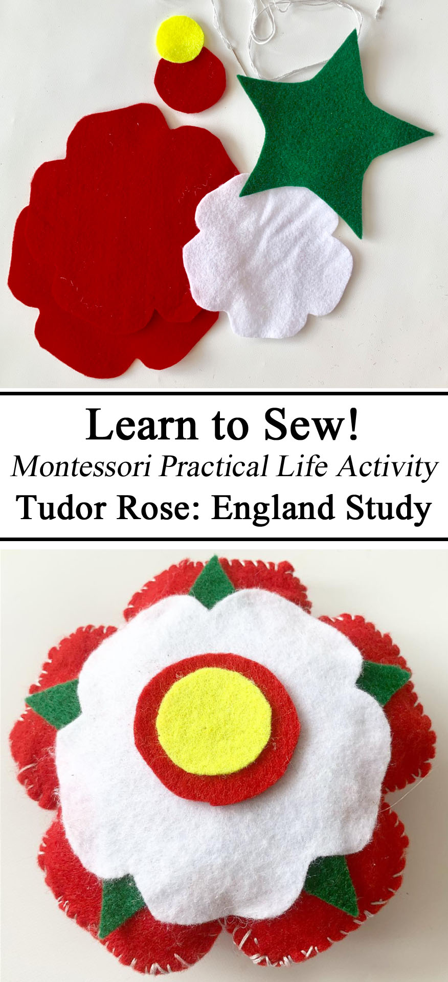 Homeschool, Homeschooling, Educational, Learn to Sew, Learning, Montessori Practical Life, Tudor Rose England History Study Unit Felt Home Economics Early Childhood STEM STEAM Unschooling, Preschool, Kindergarten, UK Great Britain Unit Study