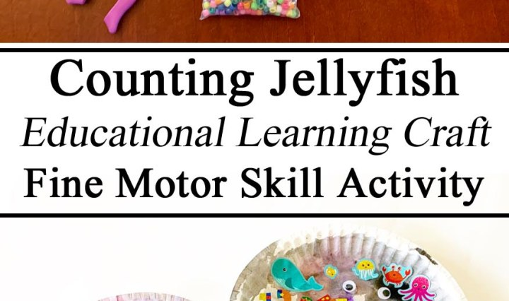 Learning to Count, Jellyfish, Jamaica Unit, Sea Life, Fine Motor Skills, Activity, Crafts, Arts and Crafts, STEAM Educational Learning Preschool STEM PreK Kindergarten, Bead work, Summer Activities, Ideas, Inspiration, Watercolors, Unschooling, Homeschool, Homeschooling