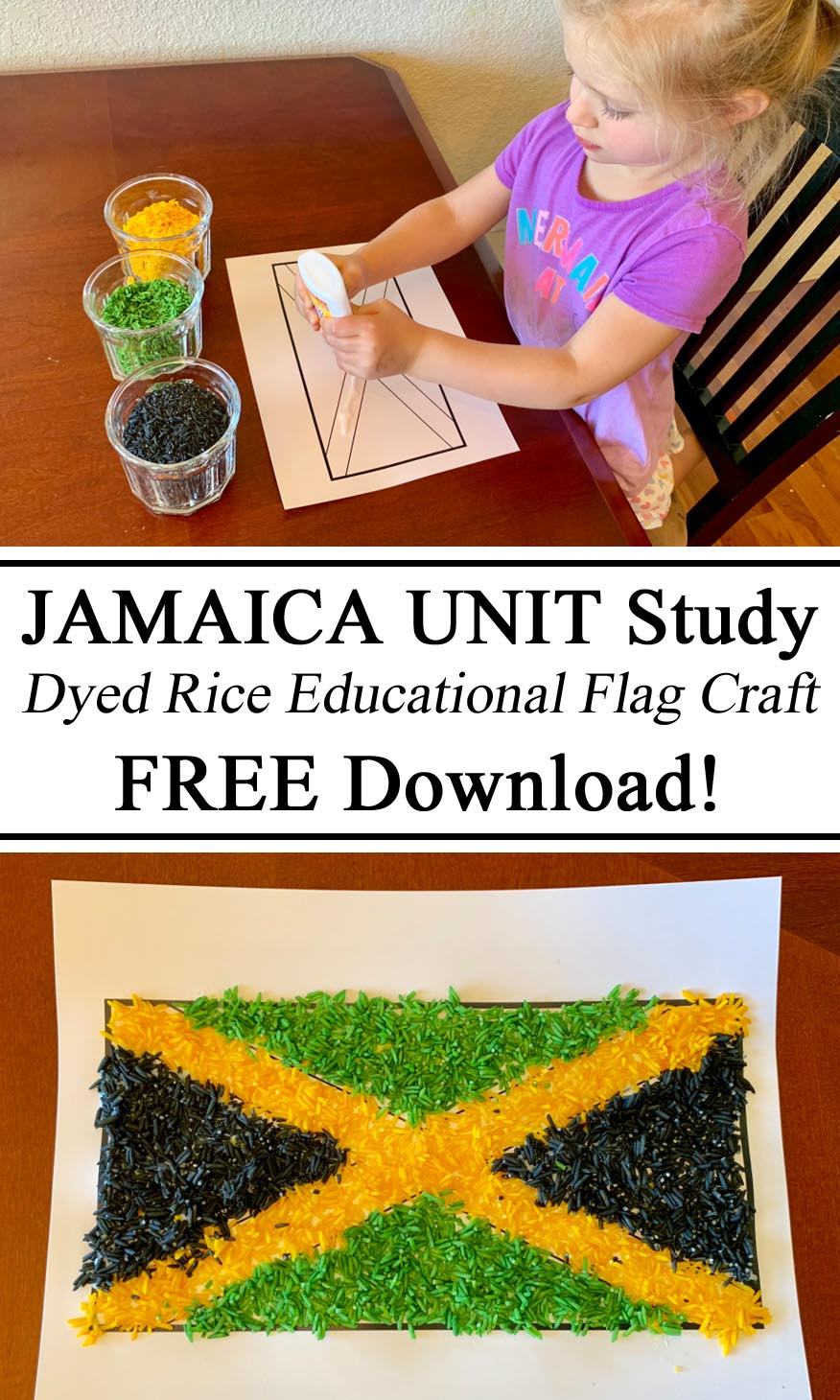 Hands on Learning, Jamaica Jamaican Unit Flag Craft Arts Activity Study Inspiration Dyed Died Rice Colored Coloured Educational Learning Unschooling, Ideas, Parents Educators, Preschool, PreK, Kindergarten, Montessori STEM STEAM Waldorf Let them be little #travelingthroughlearning