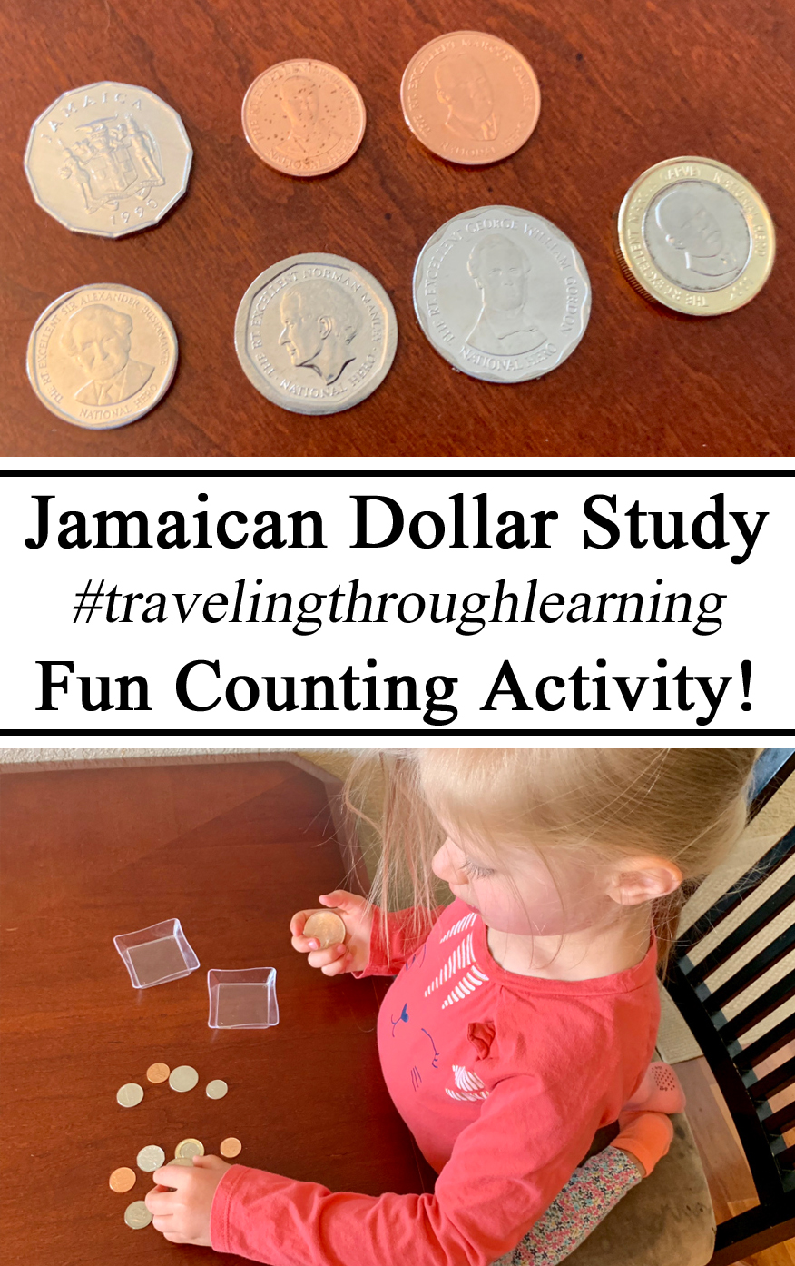 Jamaican Unit, Carribean, Currencies, Money, Dollar, J$, Coins, Collection, Counting, Learn, Learning, Montessori, Inspired, Ideas, Educational, Education, Preschool, Kindergarten, PreK, Homeschool, Homeschooling, Hands on Learning, #travelingthroughlearning, Learning, Unit Study, Studies