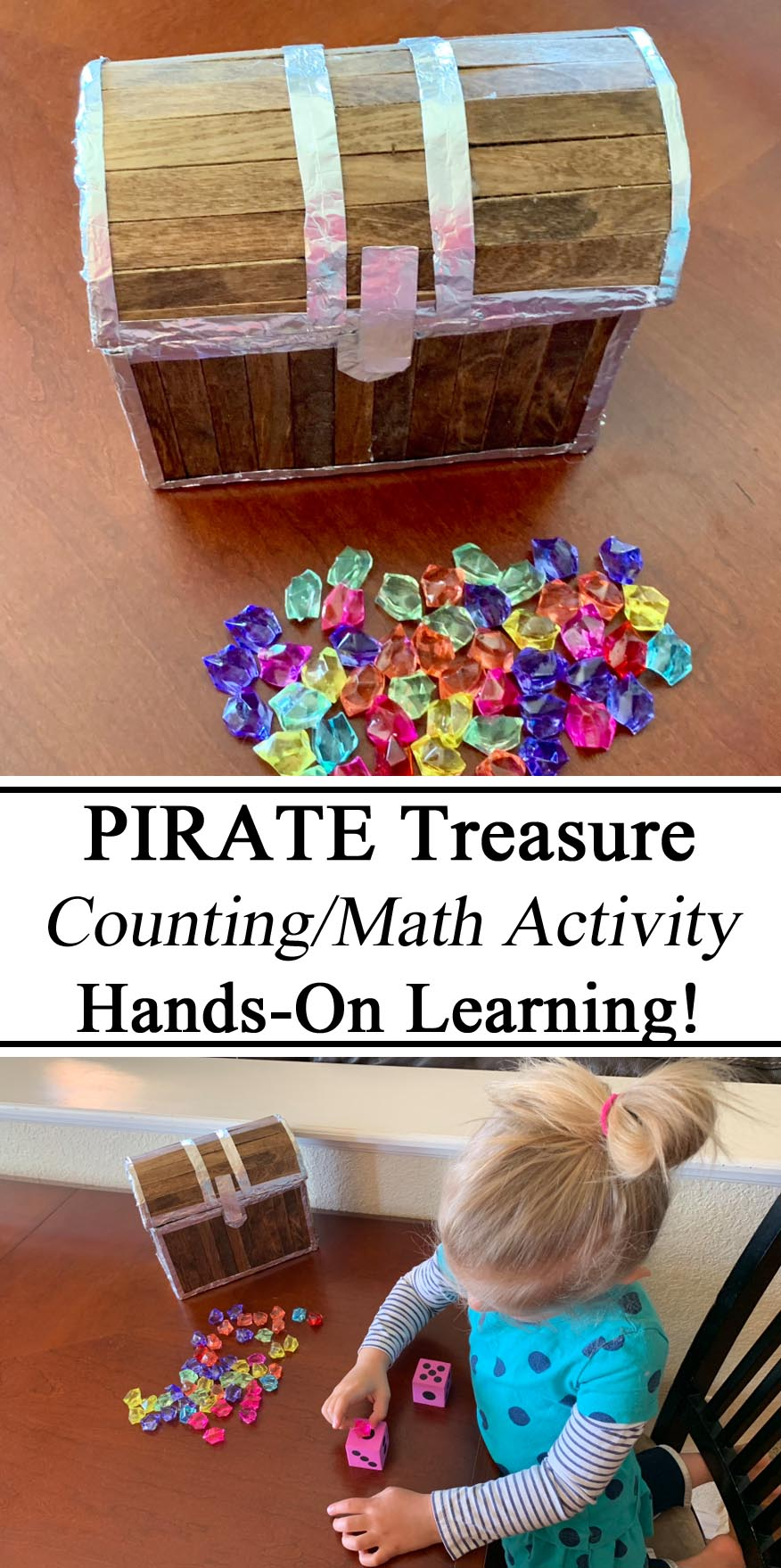 Homeschool, Homeschooling, Unschool, Unschooling, Pirate Treasure, educational ideas inspiration, montessori, waldorf, manipulatives, hands on learning, counting, math learning to count, numbers preschool, prek, kindergarten, toddlers, summer activities sensory