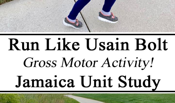 Gross Motor, Usain Bolt, Jamaica, Sprinting, Running, Kids, Active, Hands on Learning, Unit Study, Unit Studies, Learn, Meter, Montessori, Unschooling, Preschool, Kindergarten, Summer, Kids Activities, Jamaica Unit