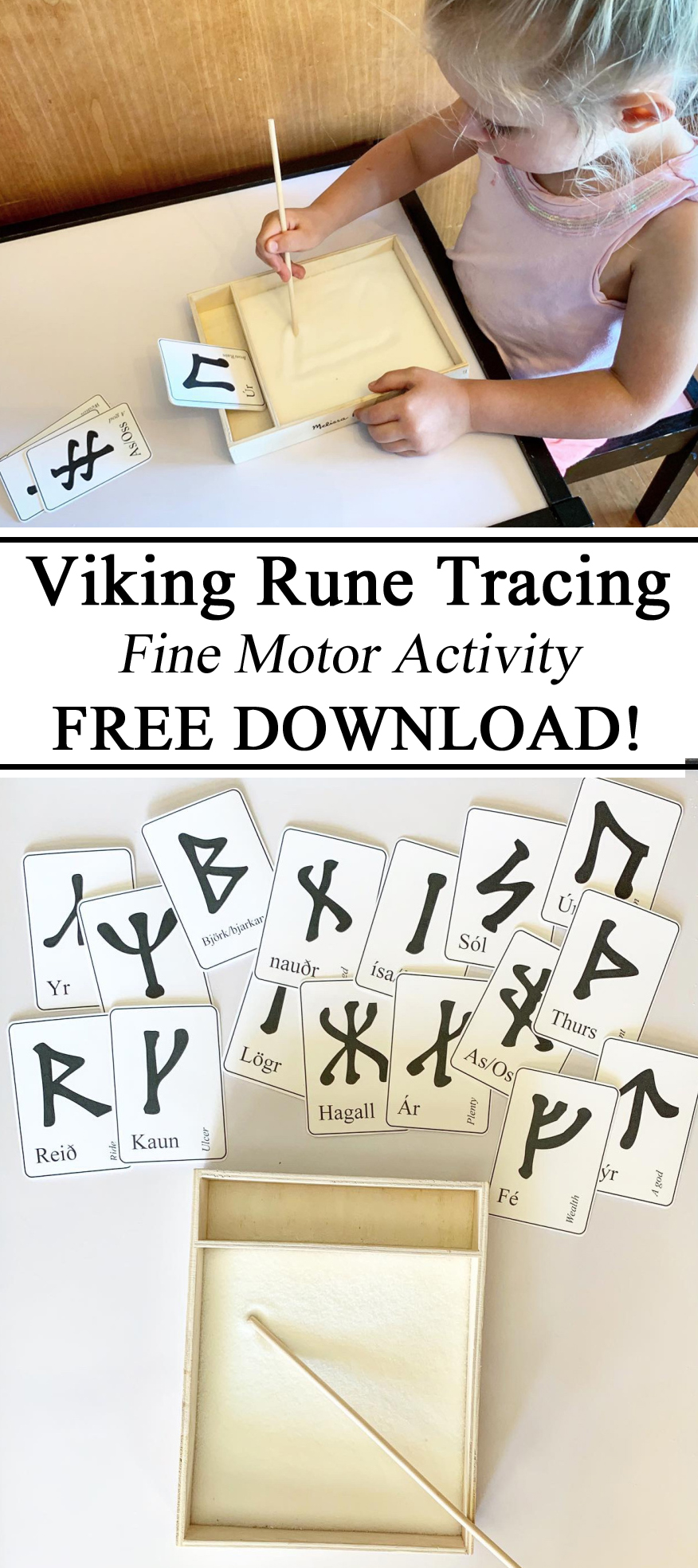 Viking Rune Runes Iceland Icelandic Tracing Early Writing Skills Activity Activities Free Printables Download Resources, Hands on Learning, Younger Futhark, Learning Languages, #travelingthroughlearning, Early Childhood Education, Preschool, PreK, Kindergarten, Tracing Sand, Learning to Write, Homeschool, Homeschooling