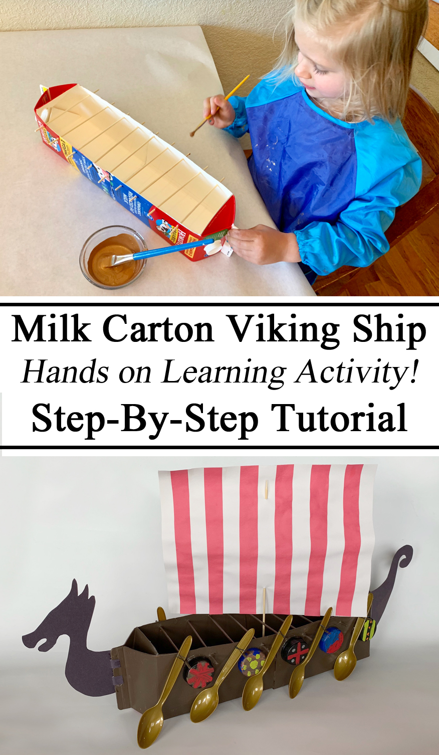 Viking Ship, Long Boat, Longboat, Milk Carton, Junk Modeling, Upcycling, Hands on Learning, Crafts for Kids, Homeschooling, Homeschool, Educational, Learning, Play based, Montessori, Waldorf, Models, Miniatures, Replicas, early Childhood Education, Ideas of Parents, Inspired, Preschool, PreK, Kindergarten,