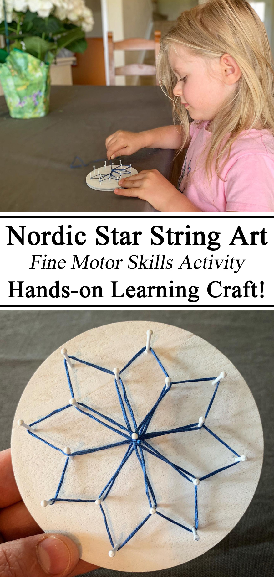 Nordic Star Iceland Country String Art Fine Motor Skills Skill Activity Craft Hands-on Learning Learn Design Practical Life Montessori Waldorf Learning to Sew Homeschool Homeschooling Unschool Unschooling Preschool PreK Kindergarten Home Economics Early Years Childhood Education Educational Ideas Kids Children