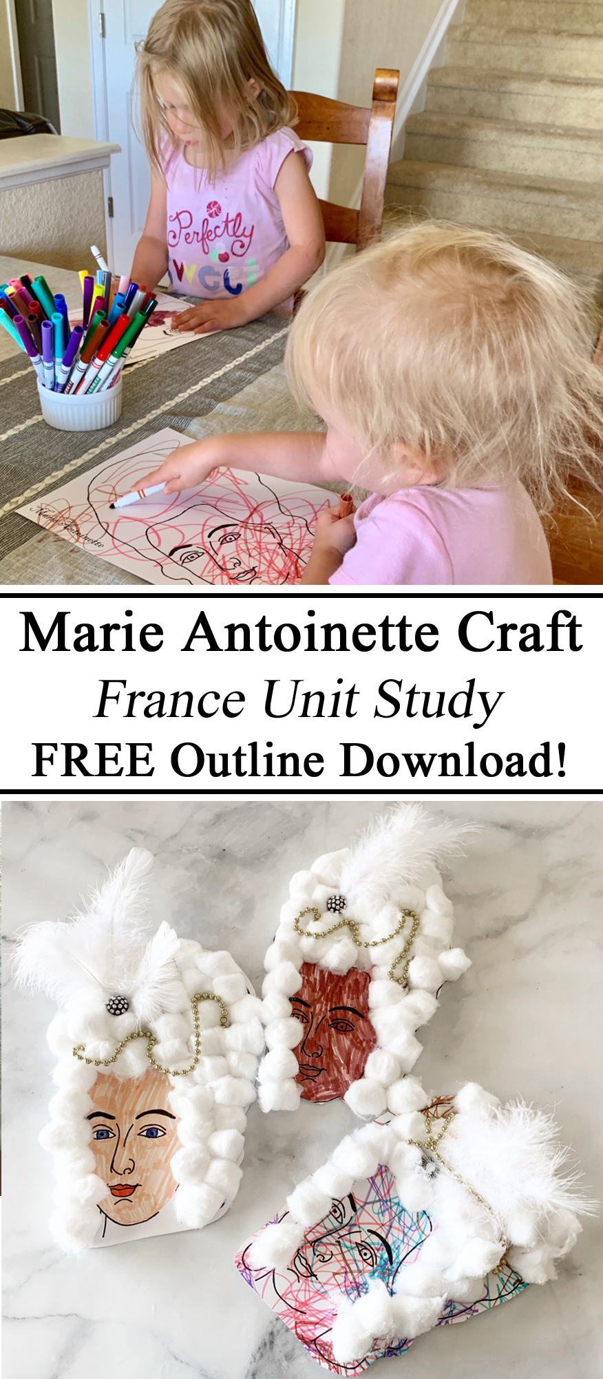 Homeschooling, Homeschool, Marie Antoinette, Crafts, Arts, France Unit Study, FREE Printable, Download, Outline Bust, French Revolution, Unit Studies, STEM STEAM Activities for Kids, Preschool, Kindergarten, Pre-K, Early Childhood Education Years, Unschooling, Activities for Kids, Children, Montessori, Learning at Home, Educational