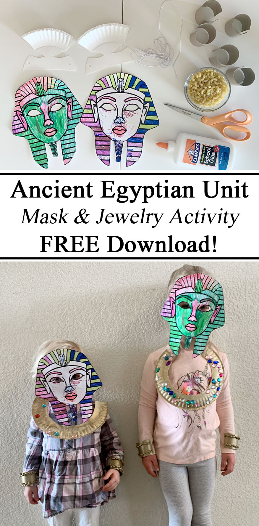 Egypt Egyptian Ancient Unit Study Studies Learning About Little Passports Free Mask Printable Death Jewelry Toilet Paper Tube Macaroni Art Jewels Paper Plate Crafts Ideas Montessori Hands on Learning Free Resources