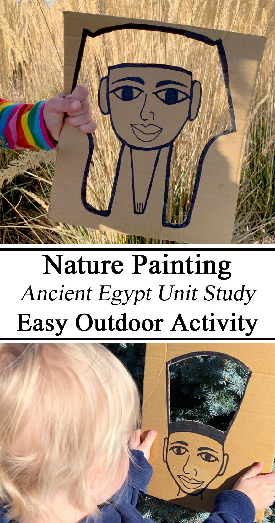 Nature Painting, Ancient Egypt Unit Study Hands on Learning Cut Out King Tut Queen Nefertiti Upcycle Junk Modeling Fall Colors Nature School Study Unit Studies Hands On Learning Homeschool Homeschooling PreK Kindergarten Preschool Unschooling #travelingthroughlearning