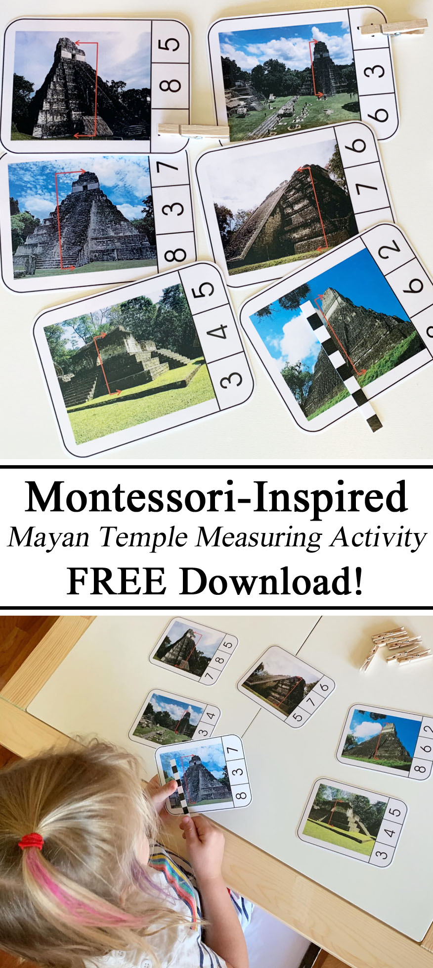 Maya Mayan Temple Montessori Inspired Pinning Cards Clothespins Free Download Printables Measuring Activity Activities Early Counting Math Mathamatics PreK Kindergarten Preschool STEM Challenge Education Learn Learning Hands on Homeschool Homeschool Units of Measurement Numbers